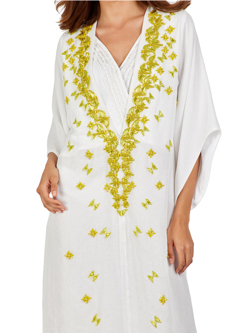 White Beaded Embellished Kaftan