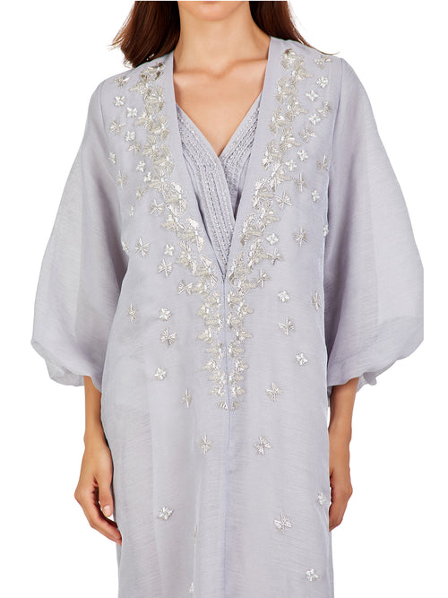 Pewter Grey Embellished Kaftan