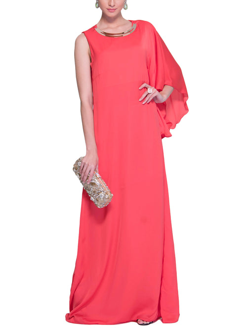 One shoulder-Sleeve Tangerine long Dress, VITTORIA ROMANO - elilhaam.com
