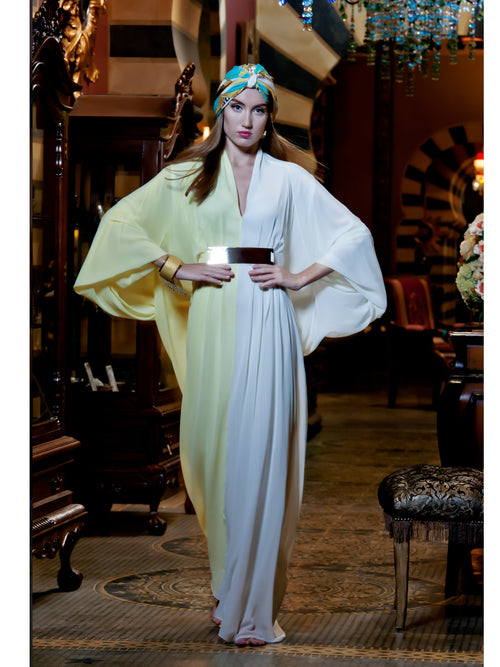 Color Block Kaftan in Lemon & White, MOONOIR - elilhaam.com