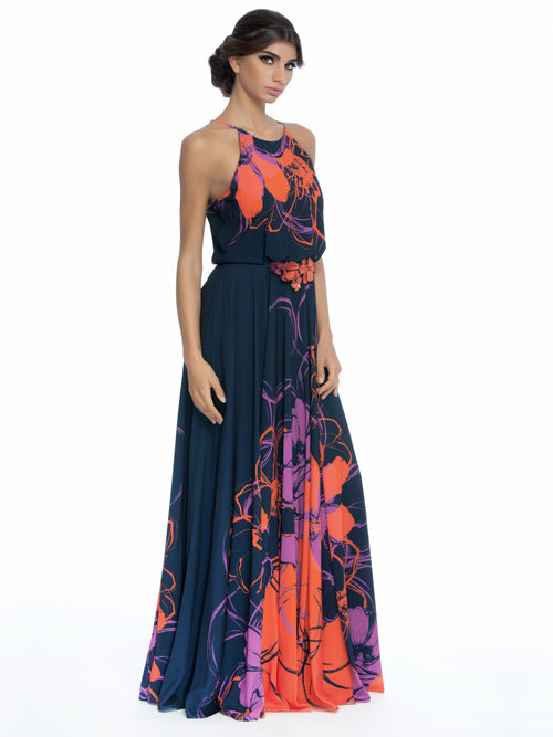 Floral-Print Halter Gown W/Beaded Waist, New,Clothes,Designers,Wedding Season Dresses, BADGLEY MISCHKA - elilhaam.com
