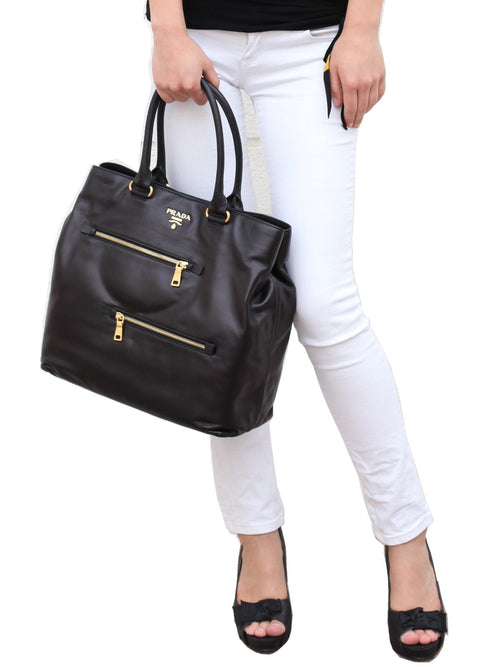Bags,Designers - Black Soft Calf Leather Tote