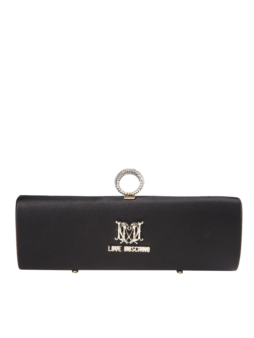 Borsa Satin Nero Clutch, LOVE MOSCHINO - elilhaam.com