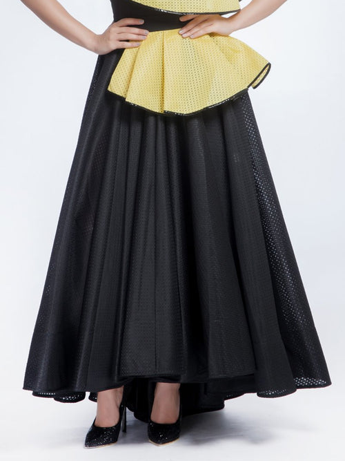 Black Pleated Long Skirt, AVARO FIGLIO - elilhaam.com