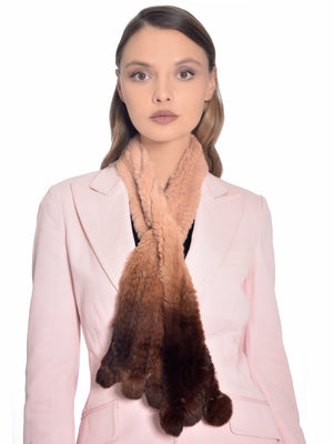 Brown Ombre Rabbit Fur Scarf, CHIZELLE - elilhaam.com