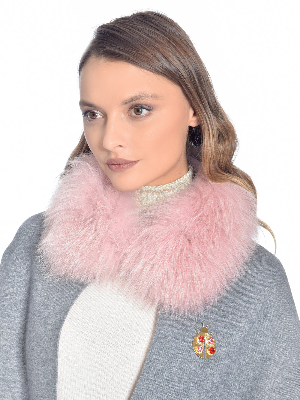 Dual Pink Fox Fur Cape, CHIZELLE - elilhaam.com