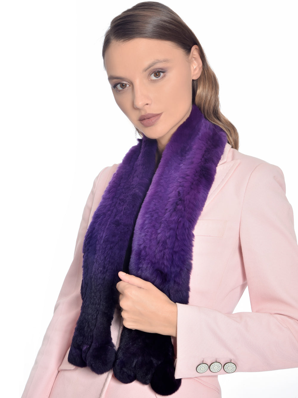 Purple Ombre Rabbit Fur Scarf, CHIZELLE - elilhaam.com