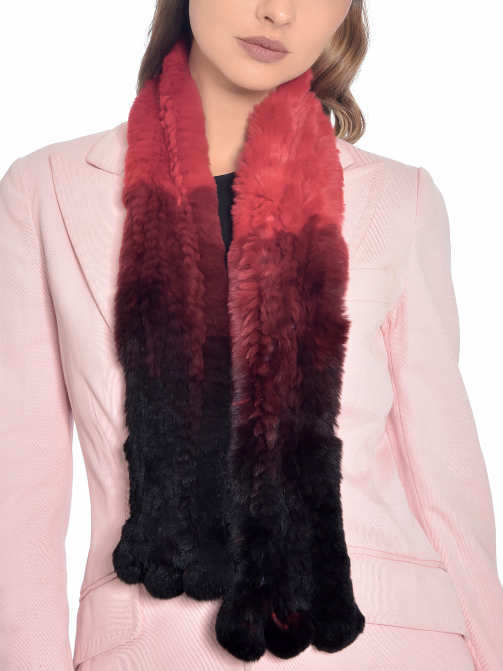 Red Ombre Rabbit Fur Scarf, CHIZELLE - elilhaam.com