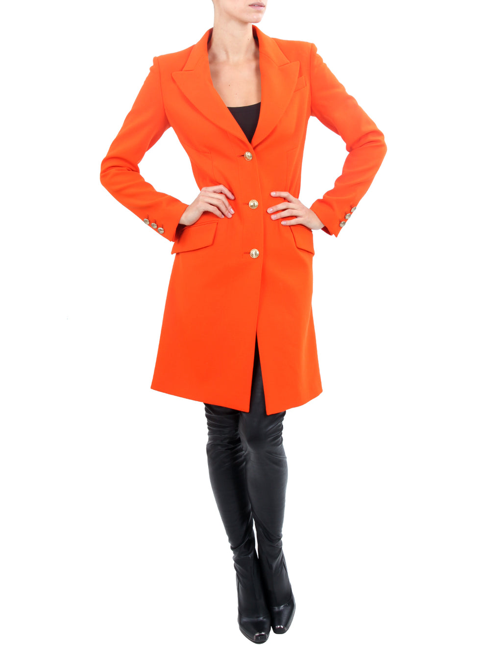 Orange coat in fine virgin wool Classic, VERSACE - elilhaam.com