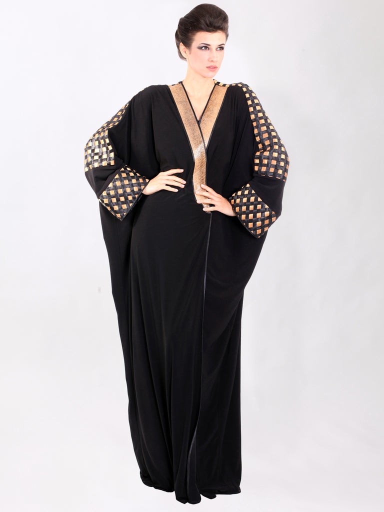 Golden Basket Weave Abaya, QUEEN OF SPADES BY LAMYA ABEDIN - elilhaam.com