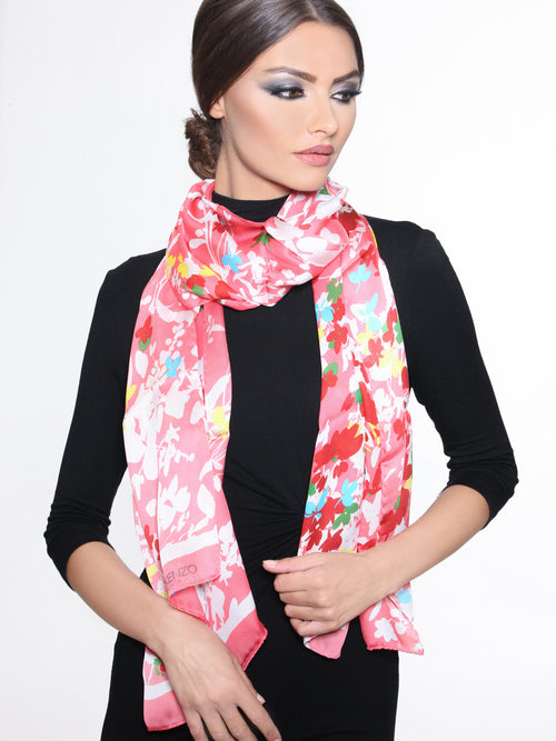 Floral coral Scarf, KENZO - elilhaam.com