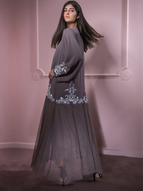 Border Damask Abaya, MOONOIR - elilhaam.com