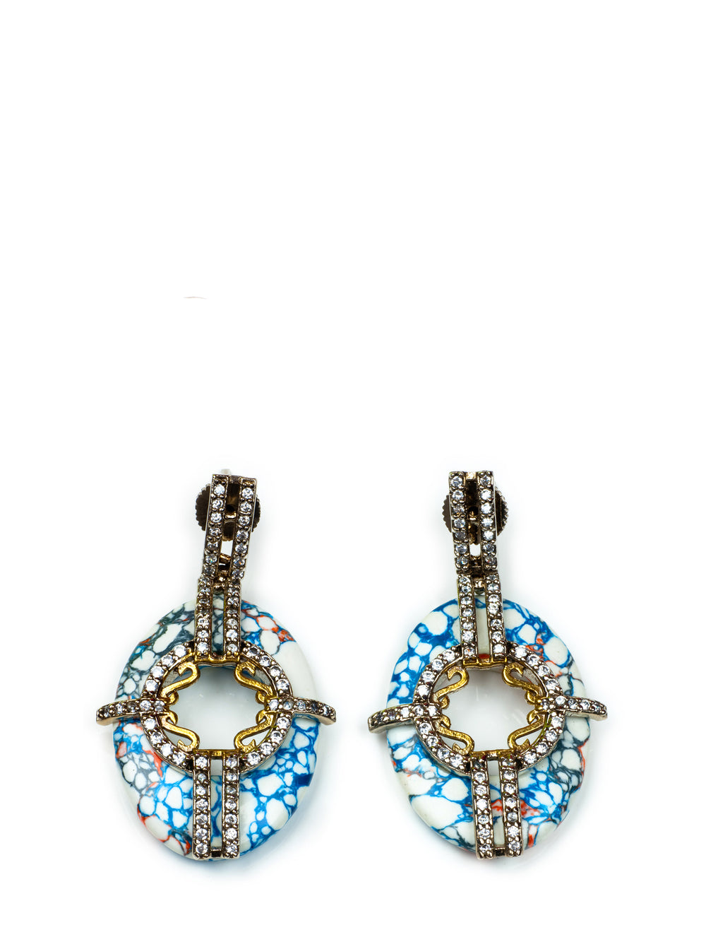 Multi Color Stone Earring with Blue base, KOUKLA - elilhaam.com