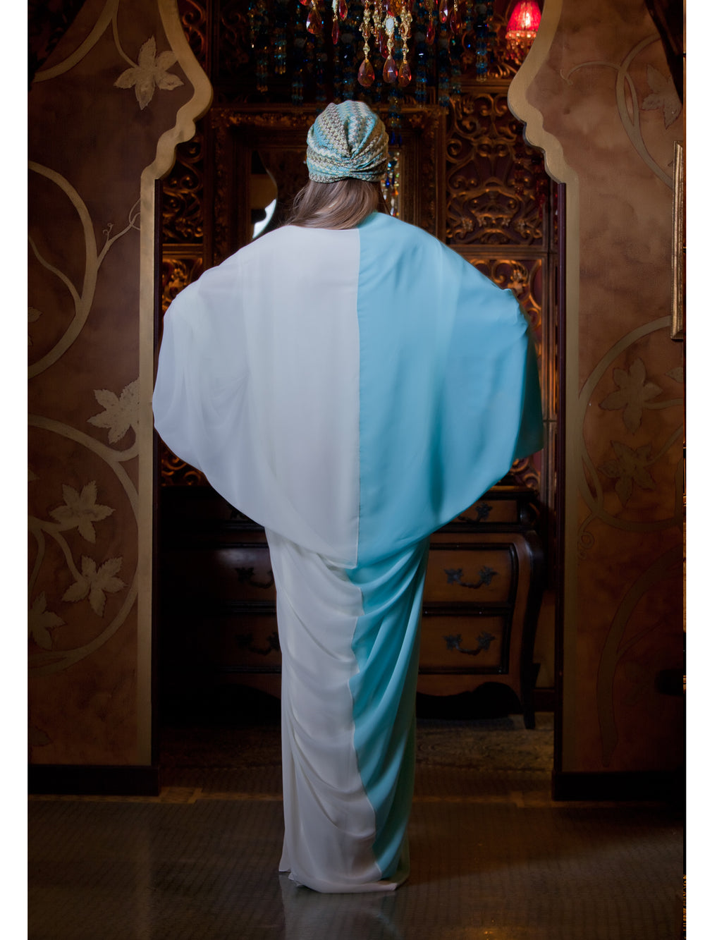 Color Block Kaftan in Aqua & White, MOONOIR - elilhaam.com