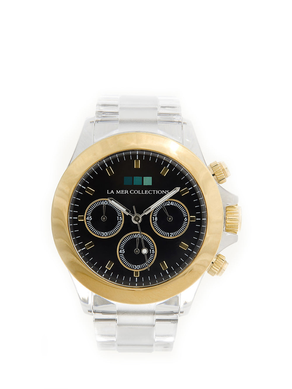 Gold Bezel  with Black Dial Watch, LA MER COLLECTIONS - elilhaam.com