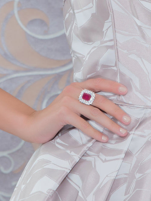 Red Center Stone Cut Ring, Accessories,Designers, TANZILA RAB - elilhaam.com