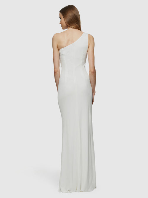 Beaded One-Shoulder Gown, DAVID MEISTER - elilhaam.com