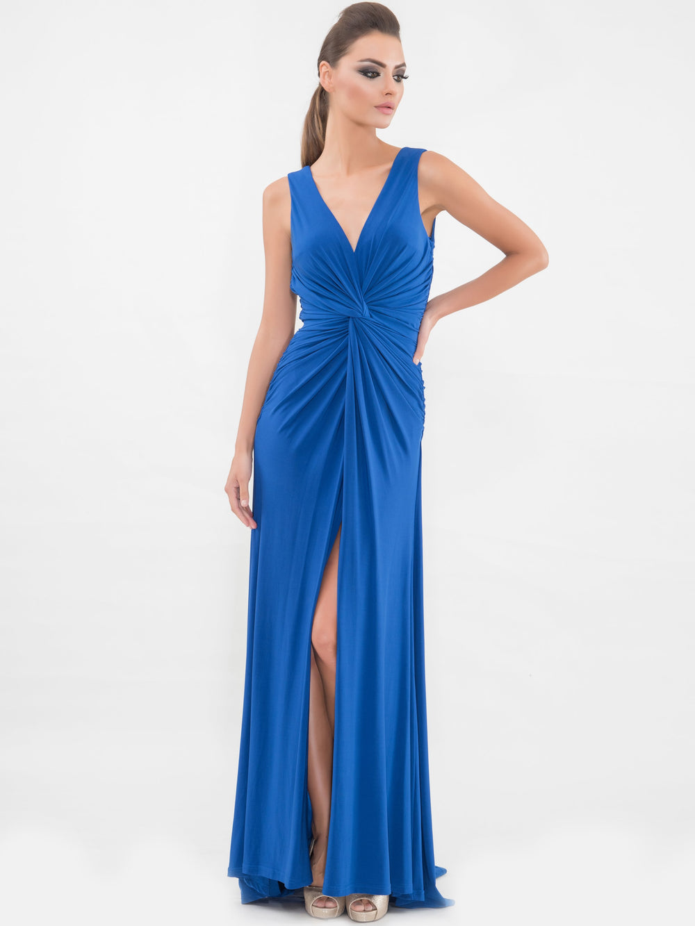 Blue Twist Front Sleeveless Gown, VITTORIA ROMANO - elilhaam.com