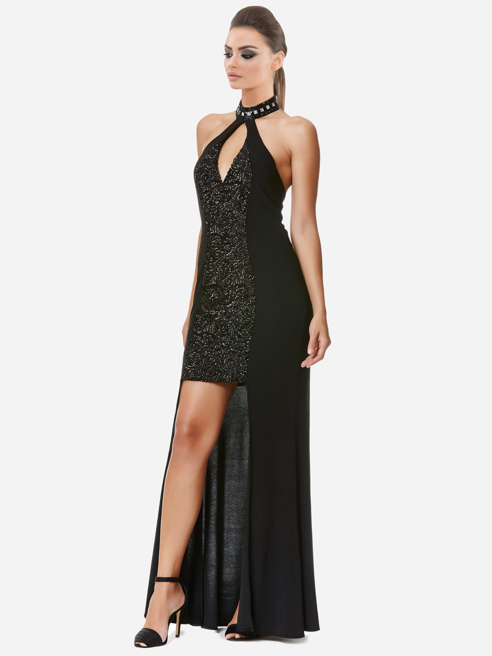 Clothes,Designers,Classic Blacks - Noir High-Low Choker Neck Gown