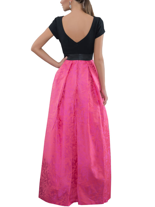 Coral/Black Color Block Gown, THEIA - elilhaam.com