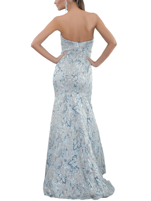 Clothes,Designers - Floral Metallic Jacquard Strapless Gown