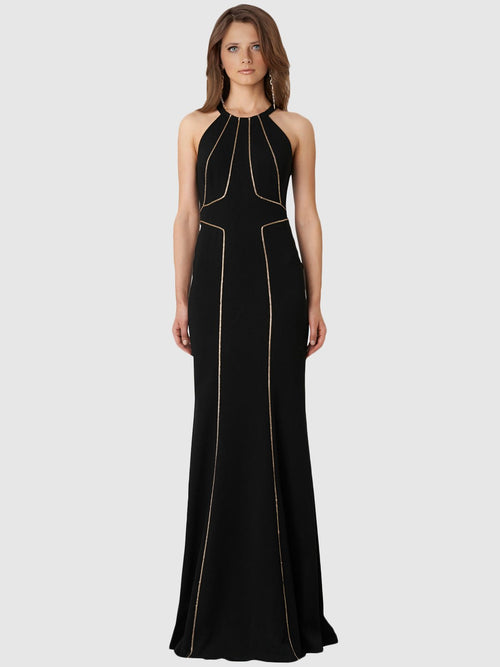 Clothes,Designers - Halter Gown With Chain Trim