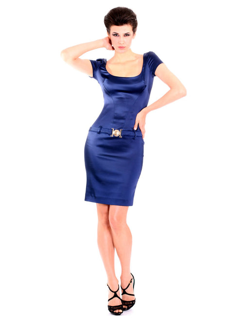 Clothes,Designers - Navy Blue Belted Pencil Dress