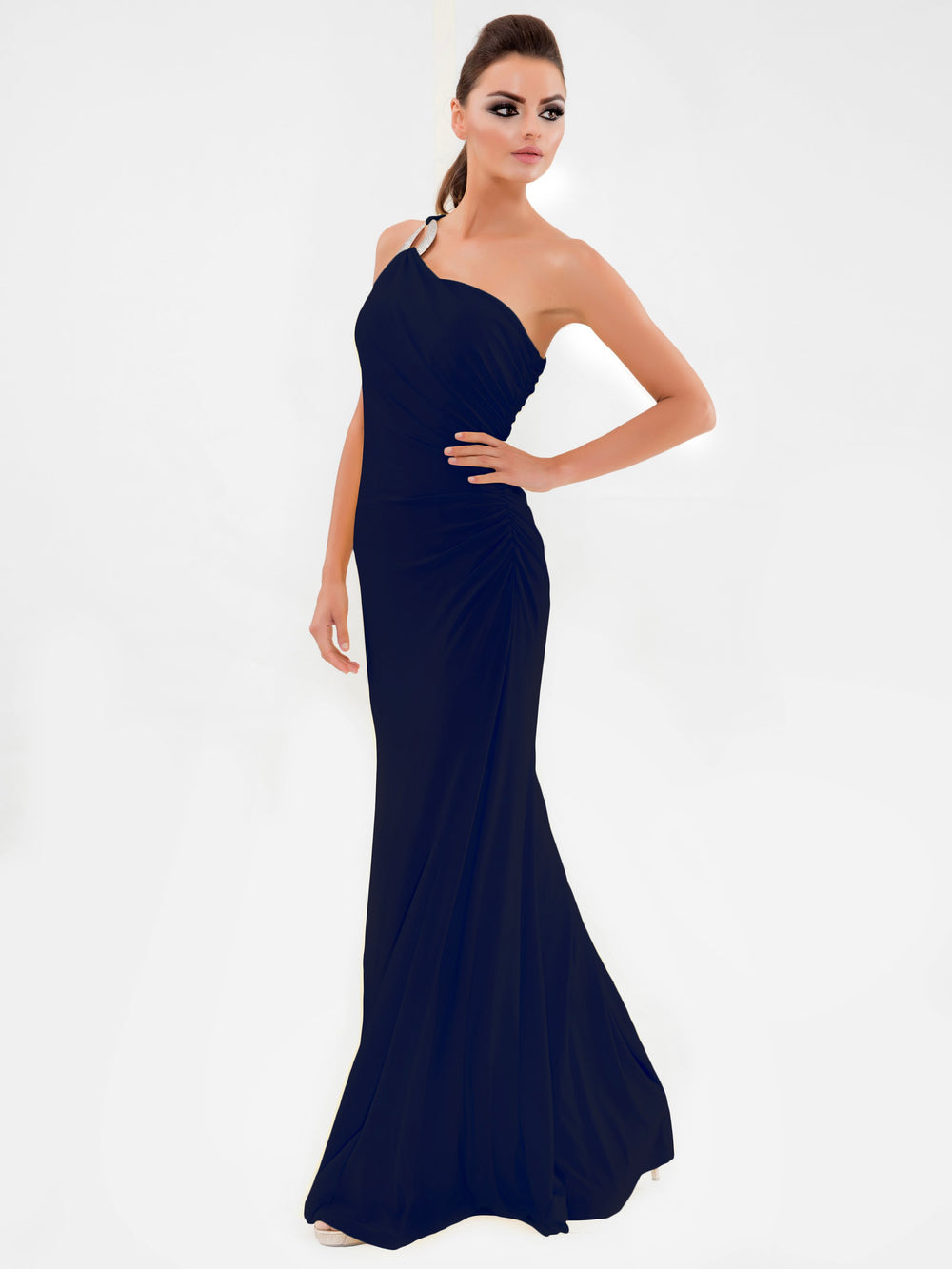 Clothes,Designers - One Shoulder Navy Gown