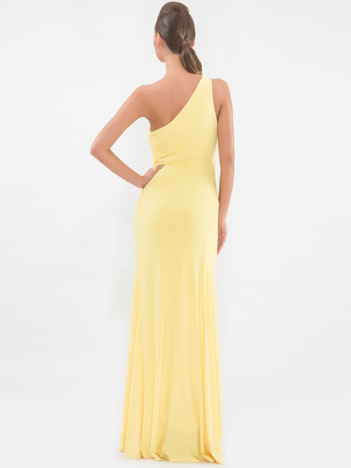 Clothes,Designers - One Shoulder Yellow Sleeveless Gown