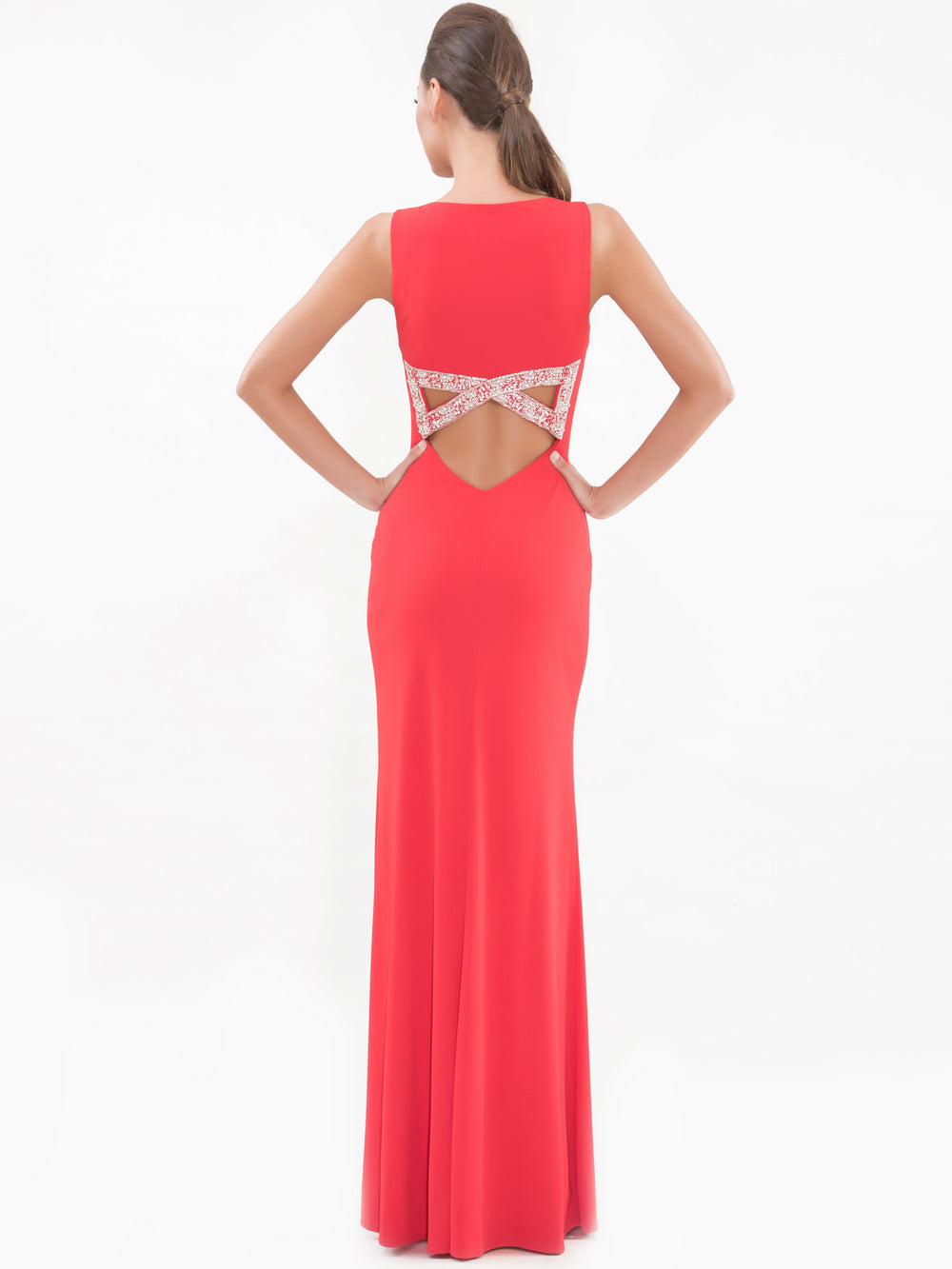 Clothes,Designers - Red Bow Back Gown