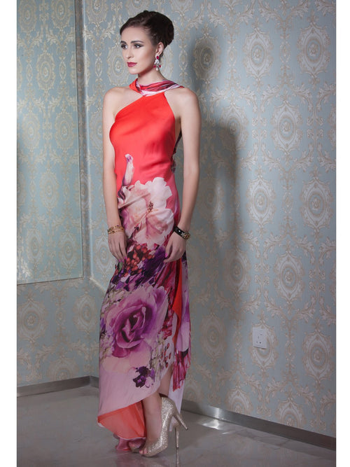 Clothes,Designers,Red Palette - One Sholder Floral Printed Dress