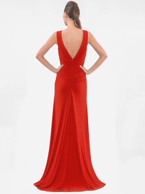 Clothes,Designers,Red Palette - Red Twist Front Sleeveless Gown
