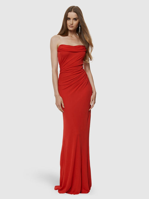 Clothes,Designers,Red Palette,Wedding Season Dresses - Ruched Strapless Gown