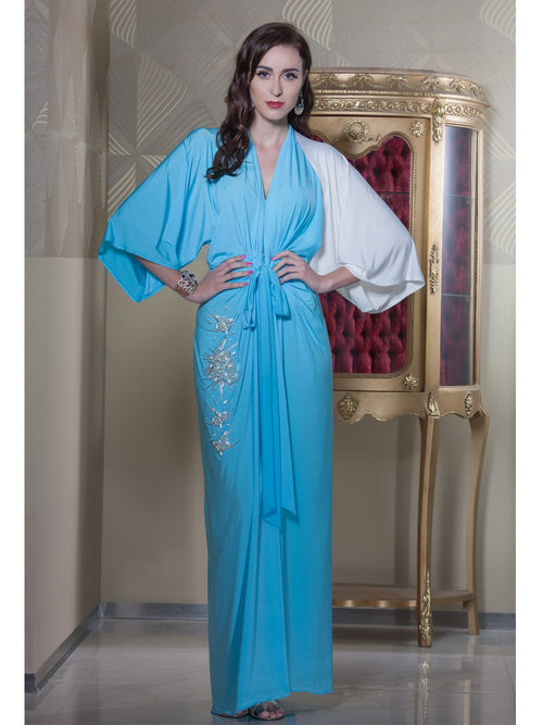 Clothes,Designers - Sky Blue Stretchable Kaftan