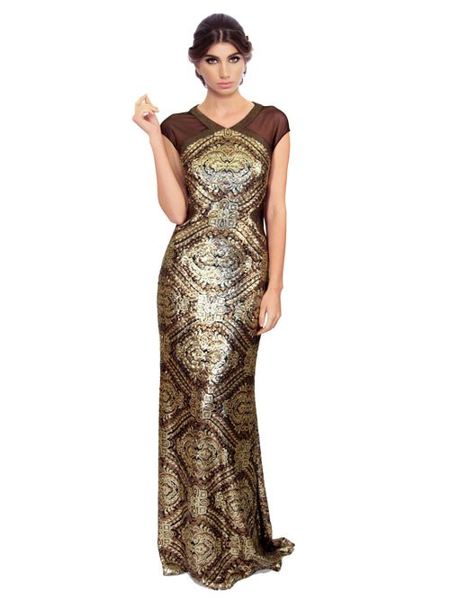 Clothes,Designers,Sparkle In Style - Sequin Mesh Art Deco Gown
