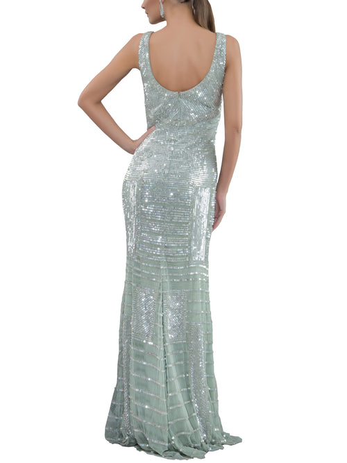 Clothes,Designers,Sparkle In Style - Silver Luster Beaded Gown