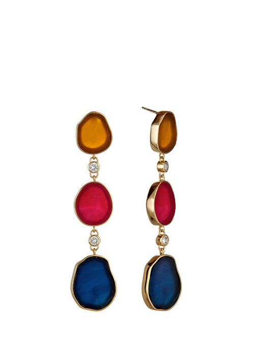 Druzy cz Long Earring, ISHARYA - elilhaam.com