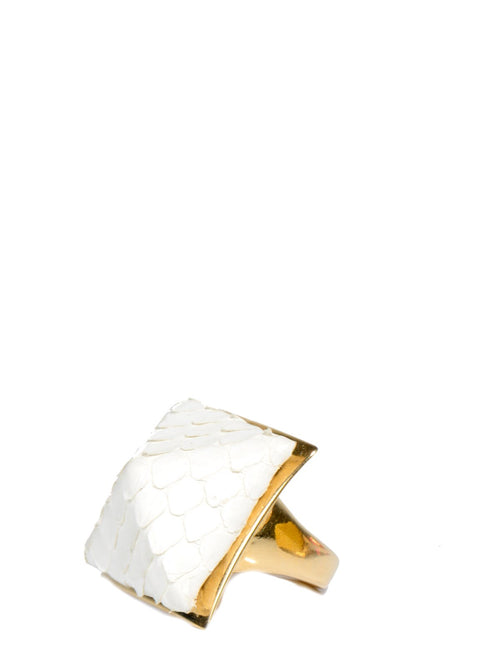 Designers,Accessories - Exotic Pyramid Ring In White