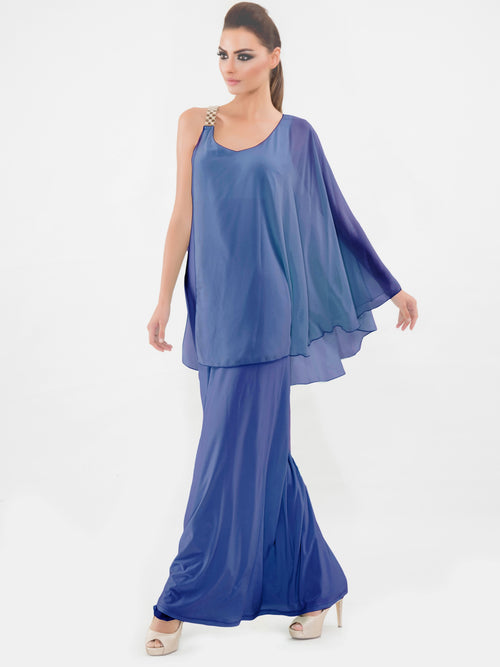 Blue One Sleeve Gown, VITTORIA ROMANO - elilhaam.com