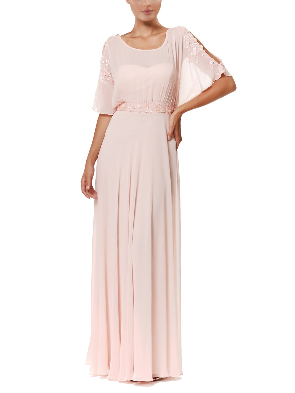 Blush Vittoria Embellished Gown, VITTORIA ROMANO - elilhaam.com