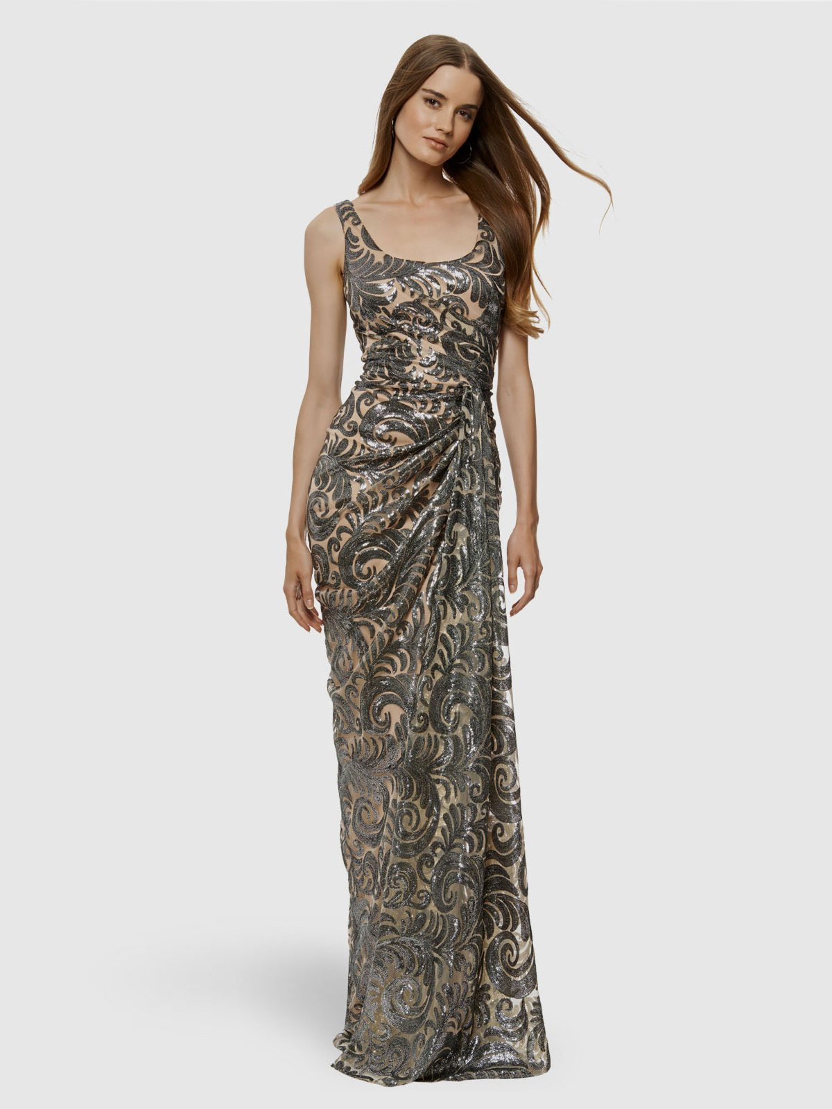 DAVID MEISTER-Sequin Mesh Draped Gown – Elilhaam