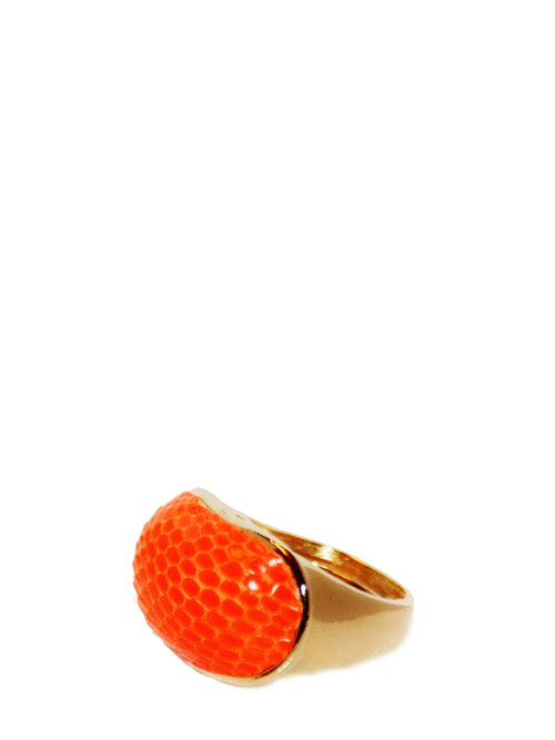 Exotic Dome Ring in Mandarin Lizard Skin, TED ROSSI - elilhaam.com
