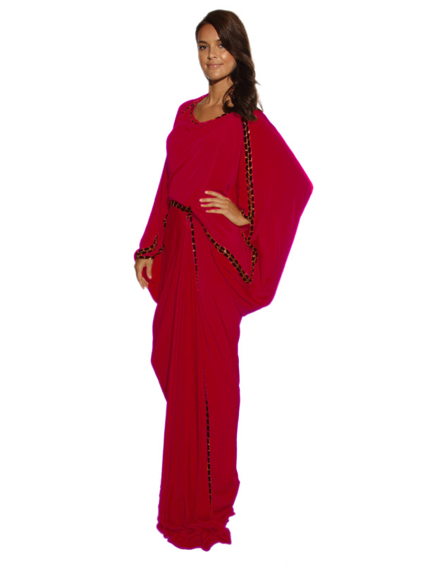 Pink Satin Crepe Gown, MOONOIR - elilhaam.com