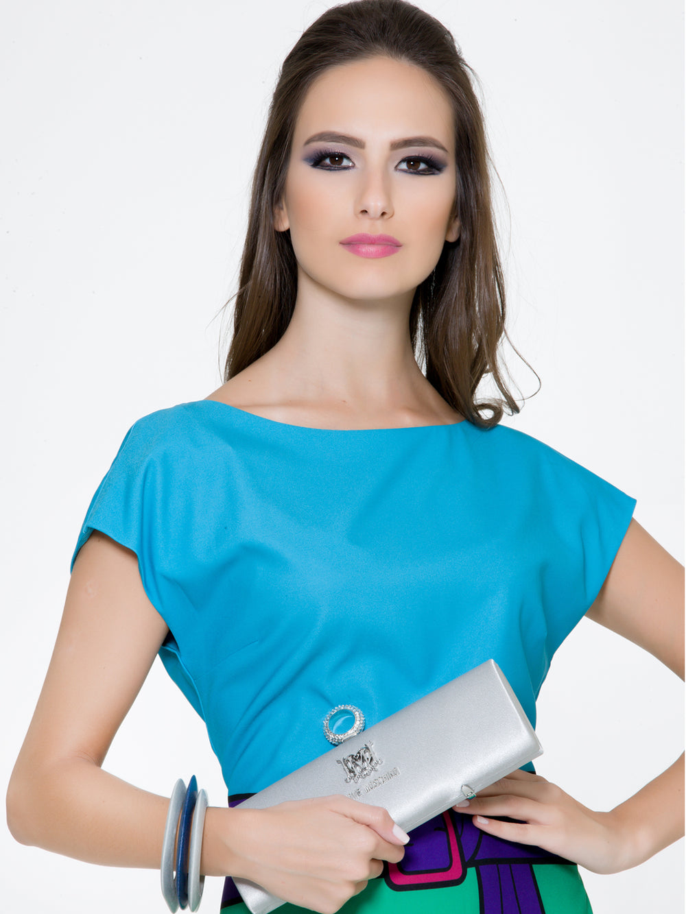 Color Block Blue Green Dress, BOUTIQUE MOSCHINO - elilhaam.com