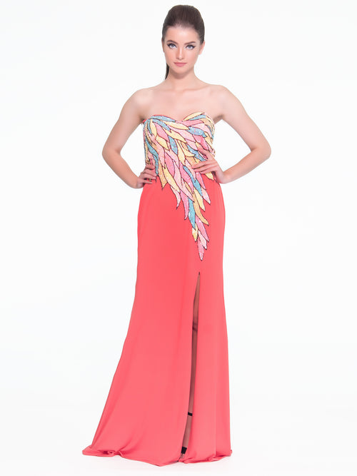Sleeveless Feather Touch Gown, VITTORIA ROMANO - elilhaam.com