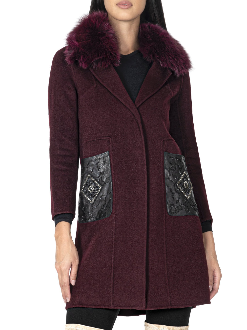 Fur-Trimmed Wool Coat
