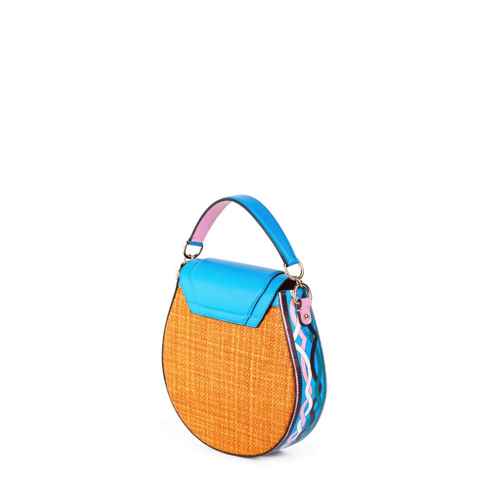 Woven Printed Panel Crossbody Bag