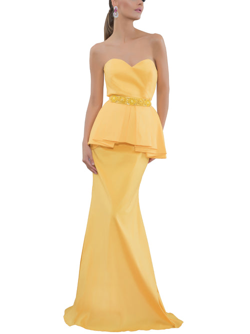 Strapless Peplum Evening Gown, , BADGLEY MISCHKA - elilhaam.com