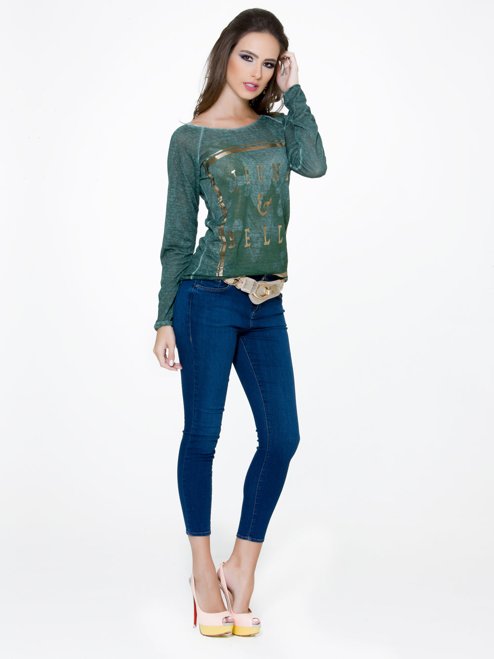 Navy Long Sleeves Top, CJF - elilhaam.com