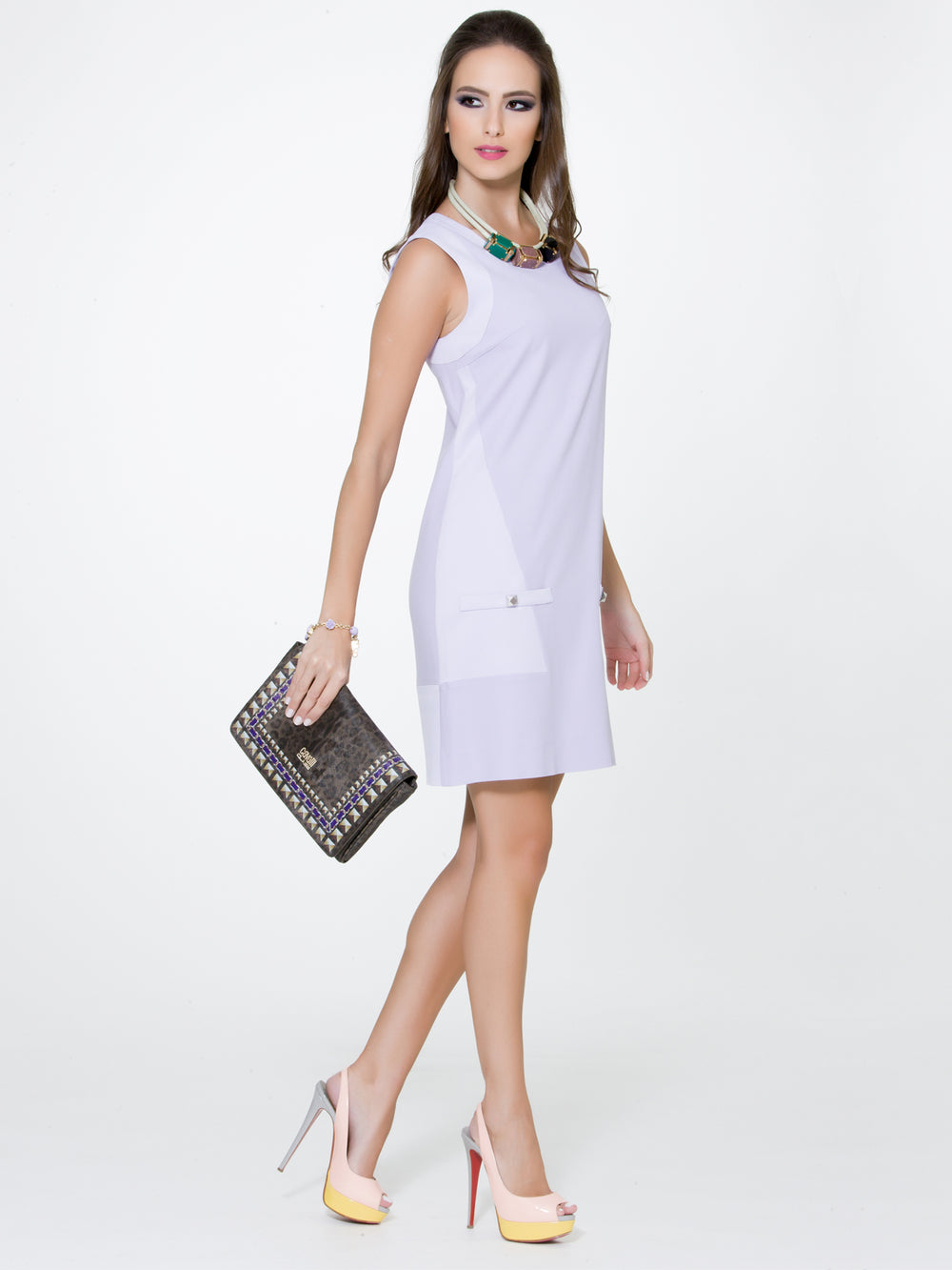 Color Block Lavender Dress, BYBLOS - elilhaam.com